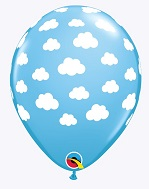 """11"""" Blue Sky White Clouds Latex Balloons"""