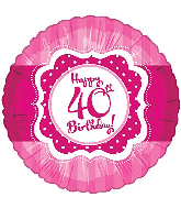 """18"""" Perfect Pink """"40"""" Happy Birthday Foil Balloon"""
