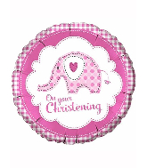 "18"" Baby Ele Christening Pink Foil Balloon"