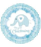 "18"" Baby Ele Christening Blue Foil Balloon"