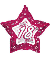 "18"" Pink & Silver ""18"" Happy Birthday Foil Balloon"
