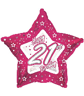 "18"" Pink & Silver ""21"" Happy Birthday Foil Balloon"