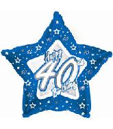 "18"" Blue & Silver ""40"" Happy Birthday Foil Balloon"