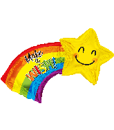 "28"" Make A Wish Shooting Star Shape Foil Balloon"