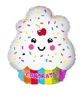 "18"" Cute Congrats Cupcake Shape Foil Balloon"