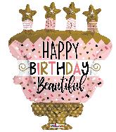 "36"" Birthday Cake With Stars Shape Foil Balloon"