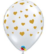 "11"" Random Hearts Diamond Clear (50 Per Bag) Latex Balloons"