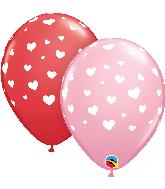 "11"" Random Hearts Red, Pink (50 Per Bag) Latex Balloons"