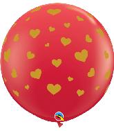 "36"" Random Hearts Red (2 Per Bag) Latex Balloons"