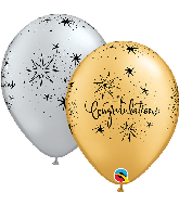 """11"""" Congratulations Elegant (50 Per Bag) Latex Balloons"""