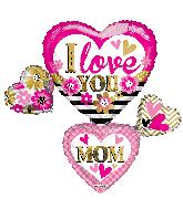 """36"""" I Love You Mom Many Hearts Shape Foil Balloon"""