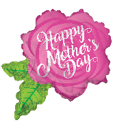 """36"""" Happy Mother's Day Rose Shape Foil Balloon"""