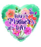 """18"""" Happy Mother's Day Watercolored Flowers Foil Balloon"""