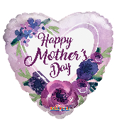 """36"""" Happy Mother's Day Violet Flowers Foil Balloon"""