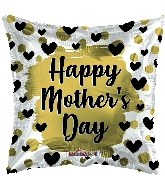 "18"" Happy Mother's Day Gold & Black Hearts Foil Balloon"