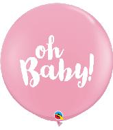 "36"" Oh Baby! Pink (2 Per Bag) Latex Balloons"