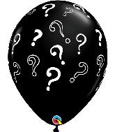 "16"" Question Marks Onyx Black (50 Per Bag) Latex Balloons"