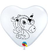 "6"" Heart Unicorn Profile White (100 Per Bag) Latex Balloons"