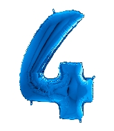 "26"" Midsize Foil Shape Balloon Number 4 Blue"