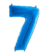 "26"" Midsize Foil Shape Balloon Number 7 Blue"