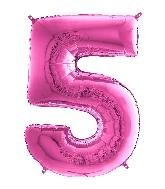 "26"" Midsize Foil Shape Balloon Number 5 Fuschia"
