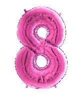 "26"" Midsize Foil Shape Balloon Number 8 Fuschia"