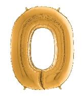"26"" Midsize Foil Shape Balloon Number 0 Gold"