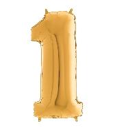"26"" Midsize Foil Shape Balloon Number 1 Gold"