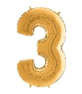 "26"" Midsize Foil Shape Balloon Number 3 Gold"