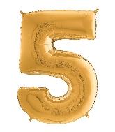 "26"" Midsize Foil Shape Balloon Number 5 Gold"