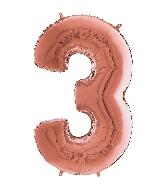 "26"" Midsize Foil Shape Balloon Number 3 Rose Gold"
