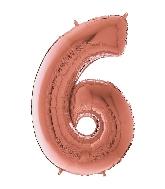 "26"" Midsize Foil Shape Balloon Number 6 Rose Gold"