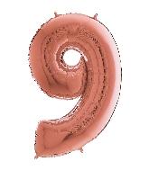 "26"" Midsize Foil Shape Balloon Number 9 Rose Gold"