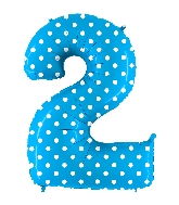 """40"""" Foil Shape Balloon Number 2 Baby Blue Dots"""