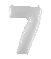 "40"" Foil Shape Balloon Number 7 Bright White"