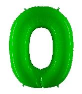"40"" Foil Shape Balloon Number 0 Fluorescence Lime"