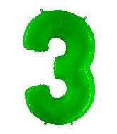 "40"" Foil Shape Balloon Number 3 Fluorescence Lime"
