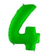 "40"" Foil Shape Balloon Number 4 Fluorescence Lime"