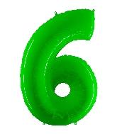 "40"" Foil Shape Balloon Number 6 Fluorescence Lime"