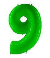 "40"" Foil Shape Balloon Number 9 Fluorescence Lime"