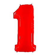"""40"""" Foil Shape Balloon Number 1 Fluorescence Red"""