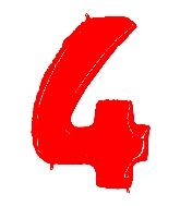 """40"""" Foil Shape Balloon Number 4 Fluorescence Red"""
