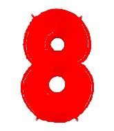 """40"""" Foil Shape Balloon Number 8 Fluorescence Red"""