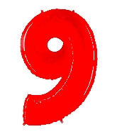 """40"""" Foil Shape Balloon Number 9 Fluorescence Red"""