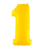 "40"" Foil Shape Balloon Number 1 Fluorescence Yellow"