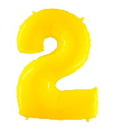 "40"" Foil Shape Balloon Number 2 Fluorescence Yellow"
