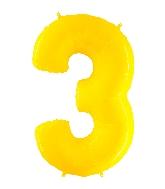 "40"" Foil Shape Balloon Number 3 Fluorescence Yellow"