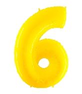"40"" Foil Shape Balloon Number 6 Fluorescence Yellow"