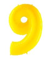 "40"" Foil Shape Balloon Number 9 Fluorescence Yellow"