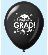 "11"" Congrats Grad Latex Balloons 25 Count Black"